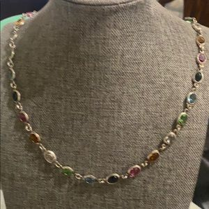 Sterling silver multiple color stone necklace